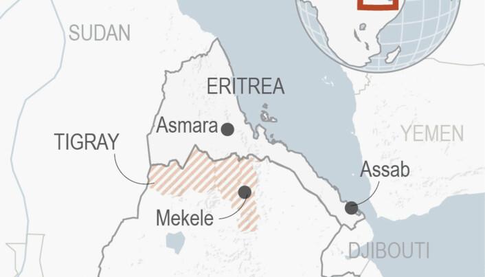 Tigray ligg innespera mellom Eritrea, Sudan og resten av Etiopia.