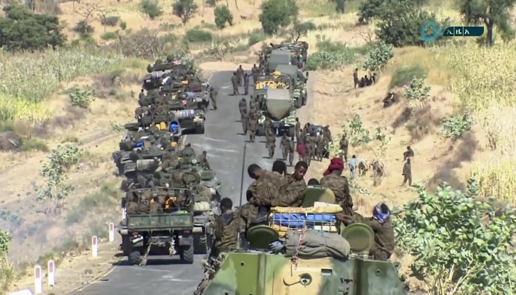Etiopiske militære styrkar vart samla på grensa til Tigray- og Amhara-regionen.