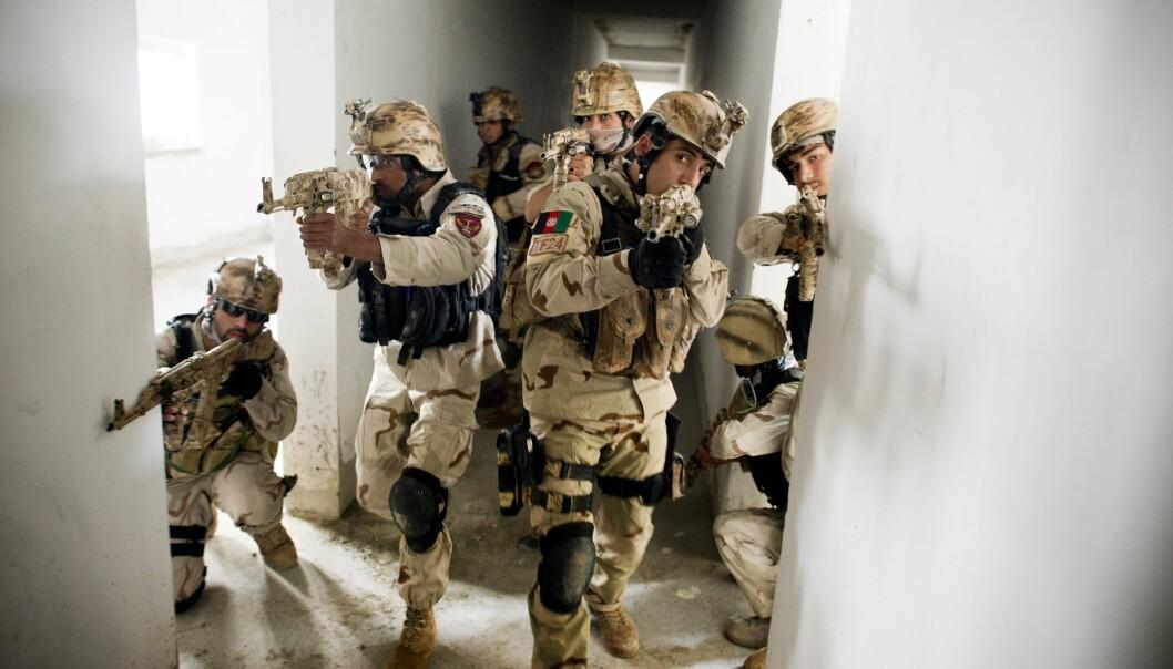 Afghansk spesialpoliti fra Crisis Response Unit under trening i Kabul.
