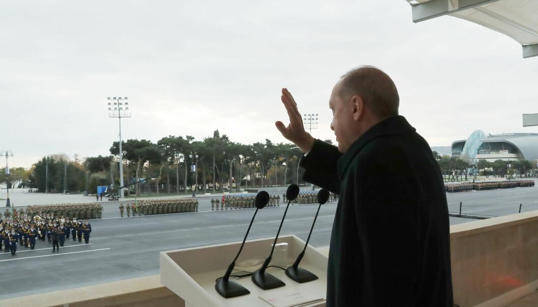 Erdogan hyllet under besøket Aserbajdsjans «strålende seier» i Nagorno-Karabakh