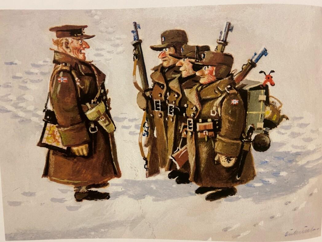 En av Aukrusts tegninger, som er stilt ut i Forsvarets forum den dag i dag.