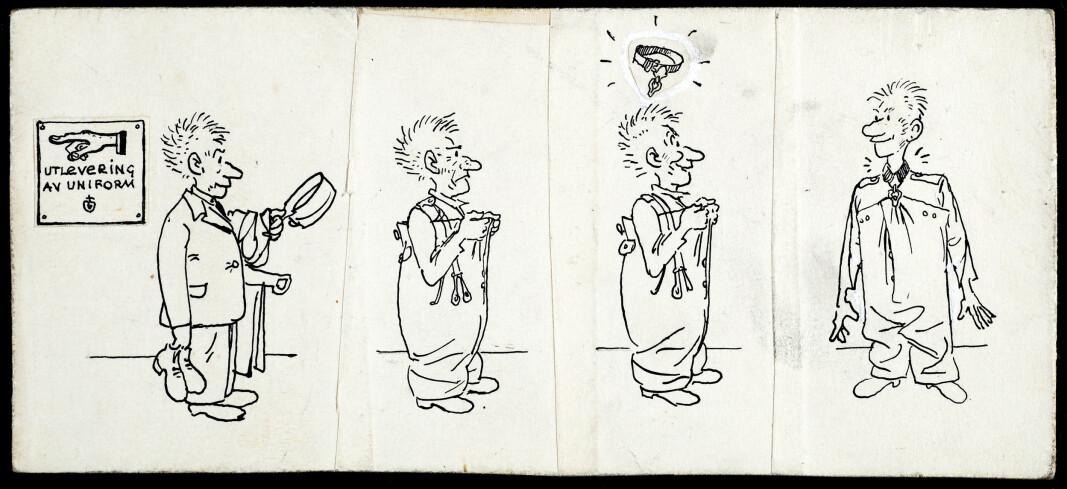 En original til Kjell Aukrust sin tegneserie N'Albert. Stripene ble et populært innslag i Mannskapsavisa. I alt tegnet Kjell 157 striper som kom på trykk både to og tre ganger.