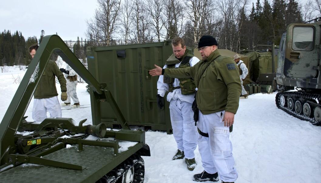 Soldater fra Vertslandsstøtte-bataljonen som samarbeider med de amerikanske soldatene.