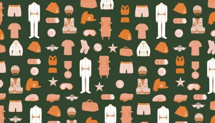 Hvite paradeuniformer, diverse merker, luer, bagger og t-skjorter var blant artiklene som ble hasteanskaffet.