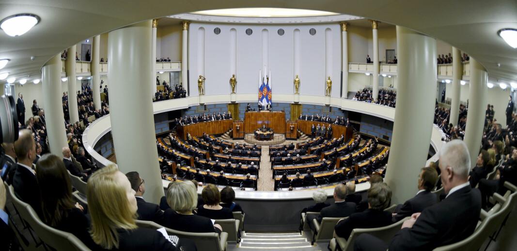 RIKSDAGEN: Finlands folkevalgte under åpningssesjonen i parlamentet i 2018.