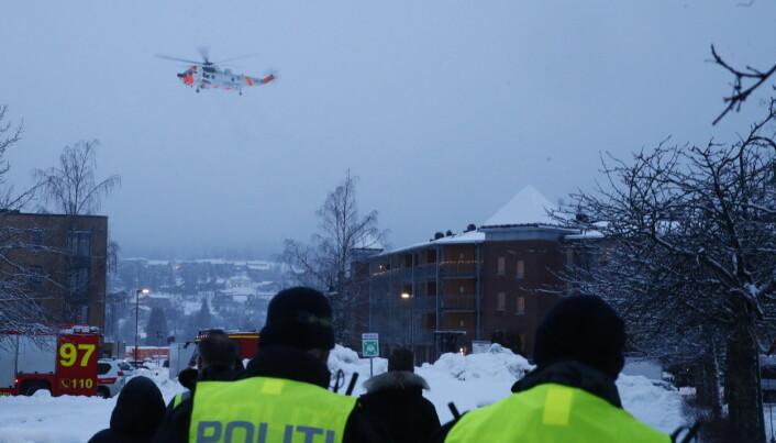 Et Sea-King helikopter på Gjerdrum i forbindelse med jordskredet 30. desember.