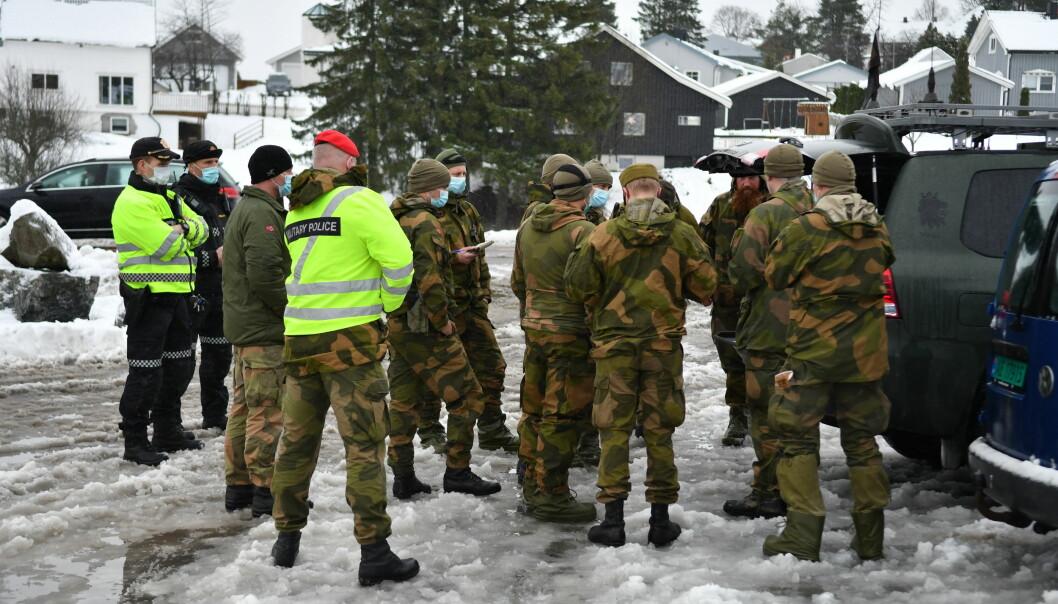 Soldater fra innsatsstyrke Derby i HV02 på plass i Gjerdrum.