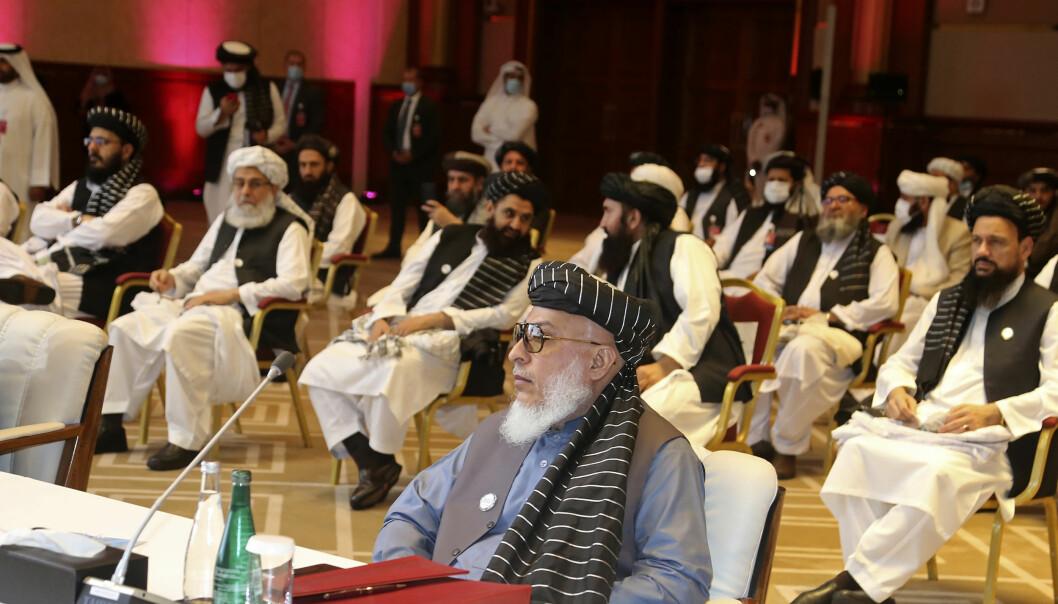 Talibans forhandlingsteam i Doha ved starten av forhandlingene 12. september.