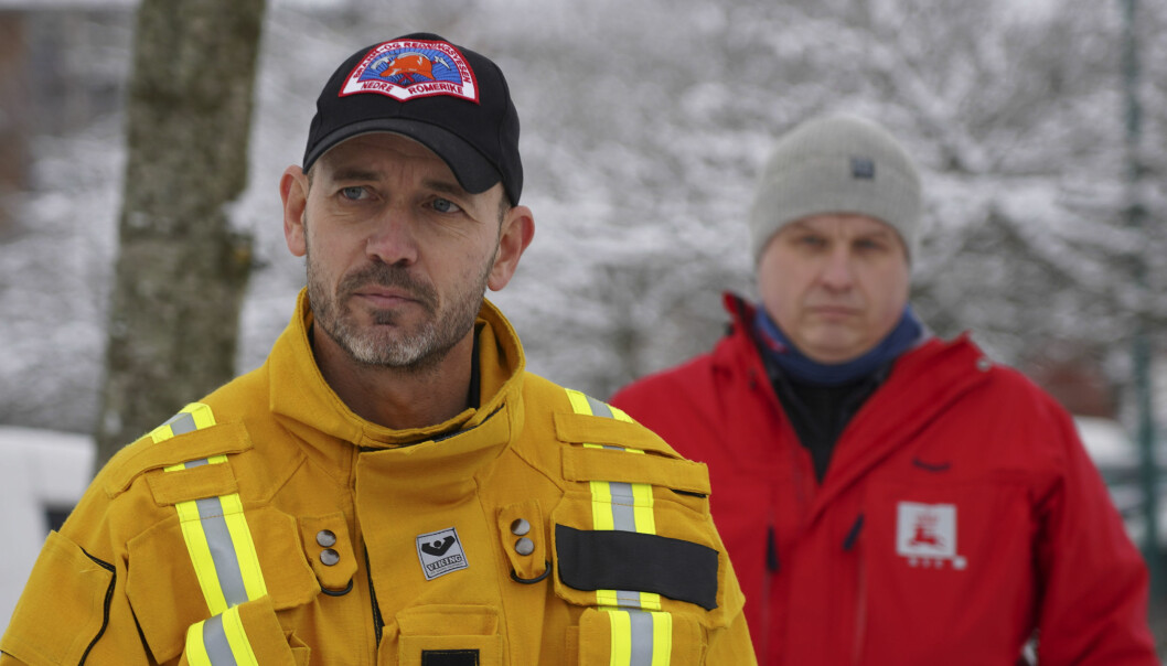 Innsatsleder brann og redning, Kenneth Wangen t.v. og Brigt Samdal i NVE.