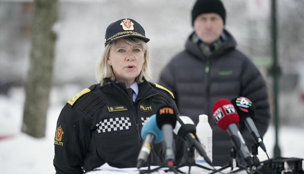 Politimester i Øst politidistrikt Ida Melbo Øystese under enpresseorientering i forbindelse med jordraset i Ask i Gjerdrum