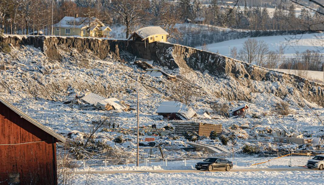LEIRSKRED: Forsvaret bidro i innsatsen på Gjerdrum da et leirskred fant sted natt til nyttårsaften 2020.
