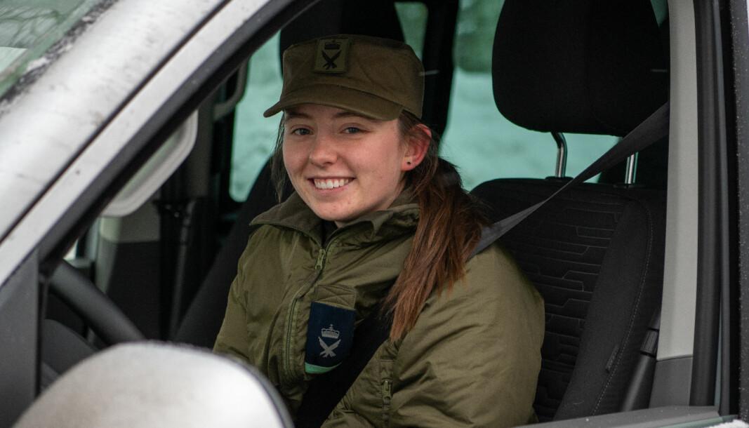 Flysoldat Kristin Flo Kandal er administrasjonssoldat for HV-02 og har bidratt i oppdraget på Gjerdrum.