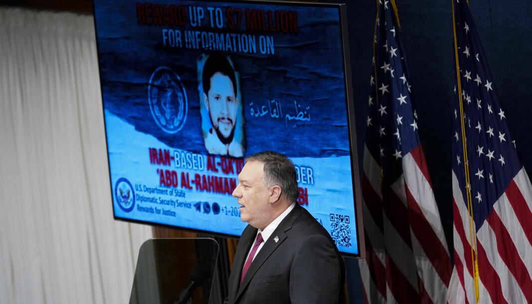 Mike Pompeo talte til National Press Club i Washington DC tirsdag.