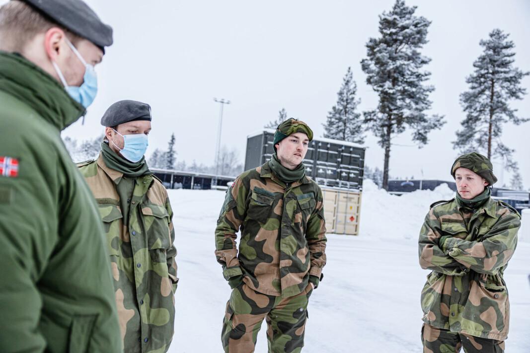 Bård Dalhaug (f.v.), Lars-Erik Holte, Kristoffer Jakobsen og Christian Stige er fire av 500 HV-soldater som har bidratt i Gjerdrum.