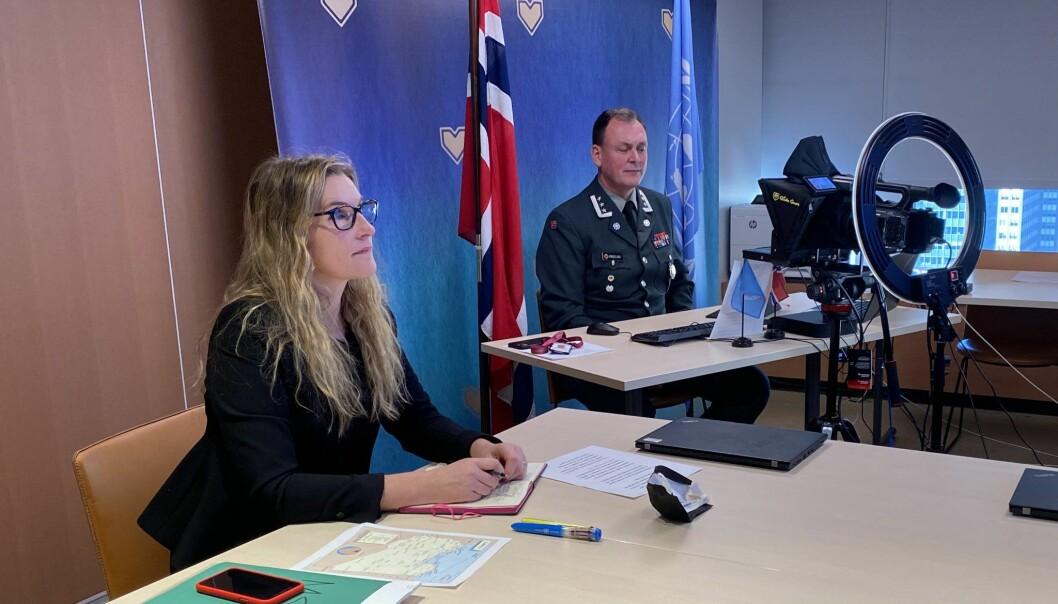 Assisterende militærråd Ianneke Borgersen Karlsen og militærråd Kåre Brændeland i Sikkerhetsrådets militærkomité.