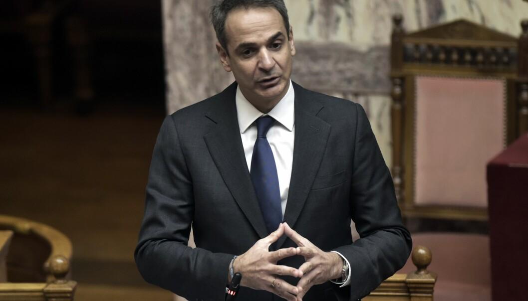 Den greske statsministeren Kyriakos Mitsotakis talte til parlamentet 20.januar.