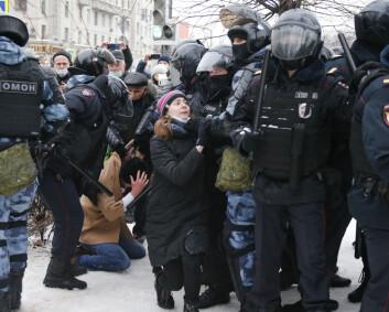 Store demonstrasjoner mot fengslingen av Navalnyj i Russland