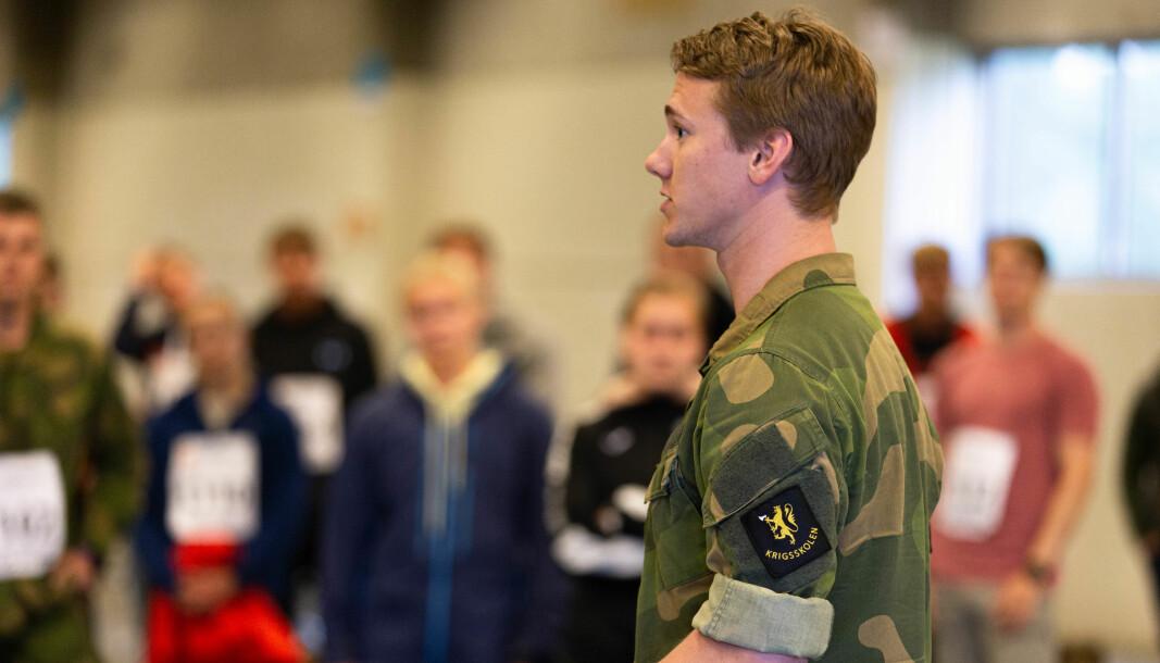 Kadett fra Krigsskolen som puljefører under felles opptak og seleksjon i 2020.