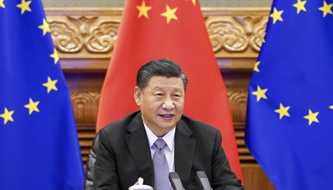 Kinas president Xi Jinping under en videokonferanse med europeiske ledere rett før nyttår.