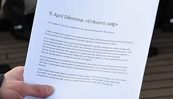 Kadettene måtte selv ta stilling til hvordan de ville handlet i møte med de samme faktorene som oberst Eriksen i 1940.