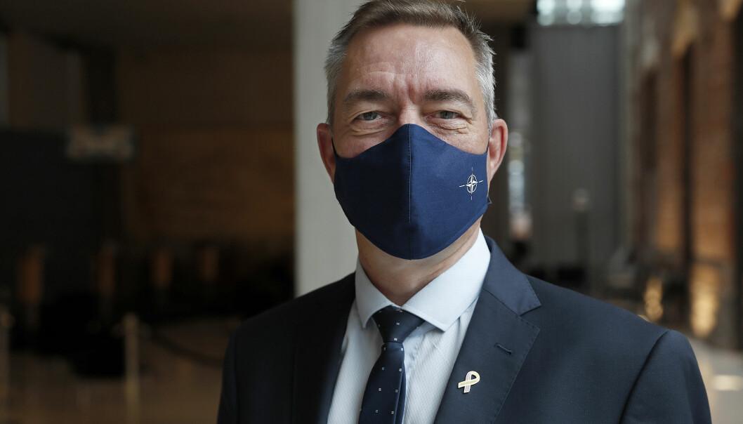 Forsvarsminister Frank Bakke-Jensen under Natos forsvarsministermøte i oktober 2020.
