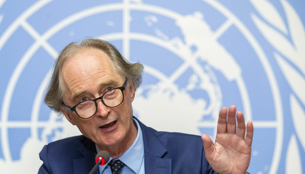 FNs Syria-utsending Geir O. Pedersen er skuffet over mangelen på framdrift i forhandlingene om ny syrisk grunnlov. Bildet er fra august i fjor.