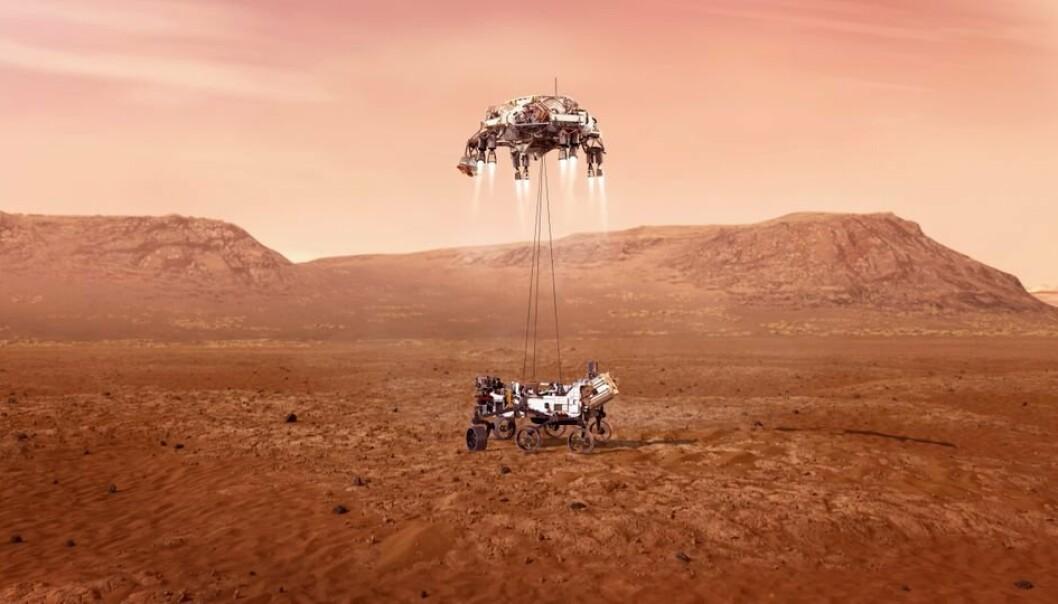 Et av de mest kritiske øyeblikket i Mars2020 ekspedisjonen er når det ett tonn tunge Mars-kjøretøyet skal fires ned på overflaten fra landingsfartøyet, skriver FFI i pressemeldingen.
