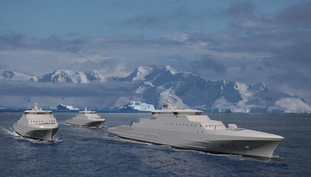 Illustrasjon av de nye kystvaktfartøyene av Jan Mayen-klassen.