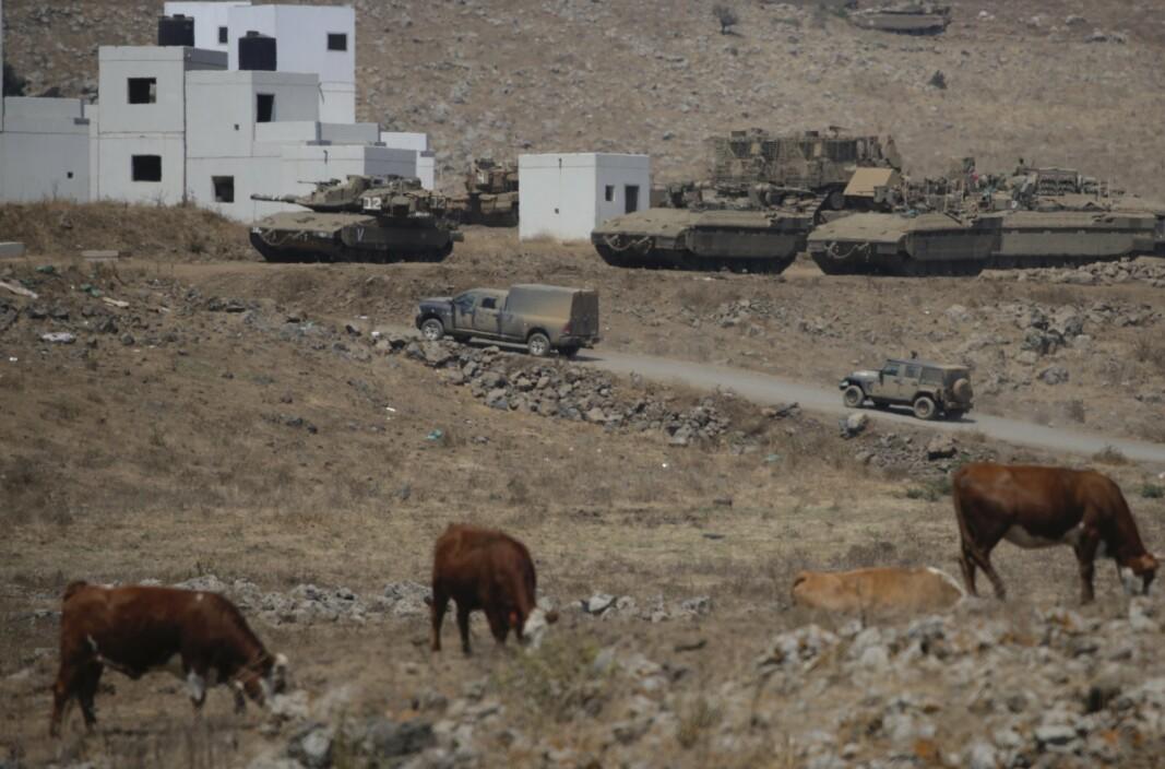 Det israelske forsvaret er tilstede på Golanhøydene, nær grensen til Syria. Bildet er datert 4. august 2020.