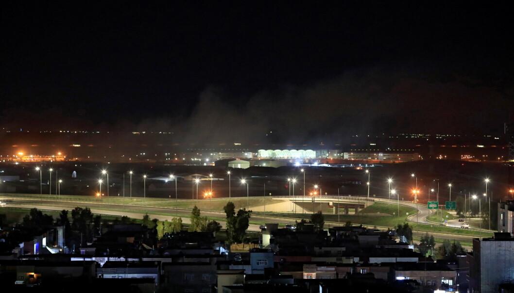 Et rakettangrep rammet flyplassen i Arbil mandag.