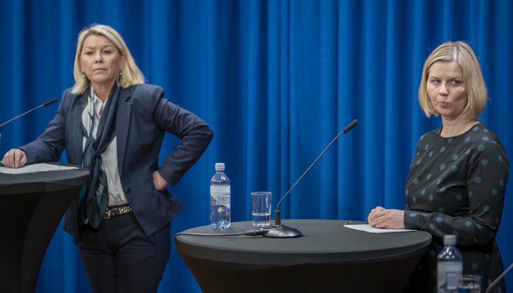 SKRINLAGT: Justisminister Monica Mæland (H) (t.v.) og kunnskapsminister Guri Melby (V) mener det var rett å sende forslaget om portforbud ut på høring, selv om forslaget nå er lagt bort.