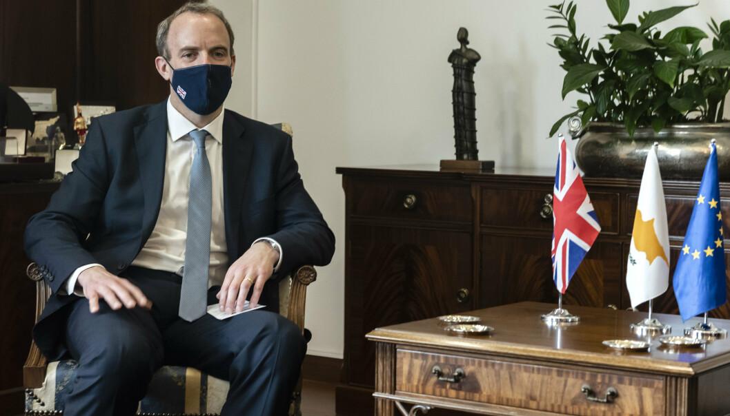 BER OM RESOLUSJON: Britenes statsminister Dominic Raab vil sikre vaksineleveranser til konfliktområder.