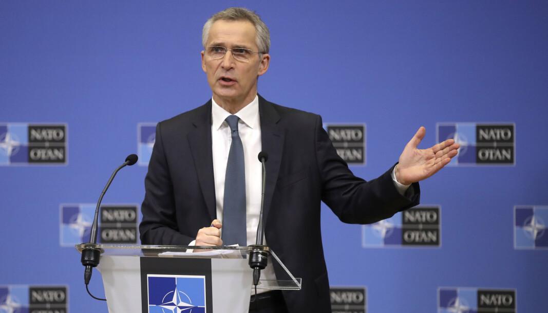 NATO 2030: Natos generalsekretær Jens Stoltenberg under en pressekonferanse 15. februar, der han la frem sine forslag til endringer av Nato. Prosjektet har han kalt Nato 2030.