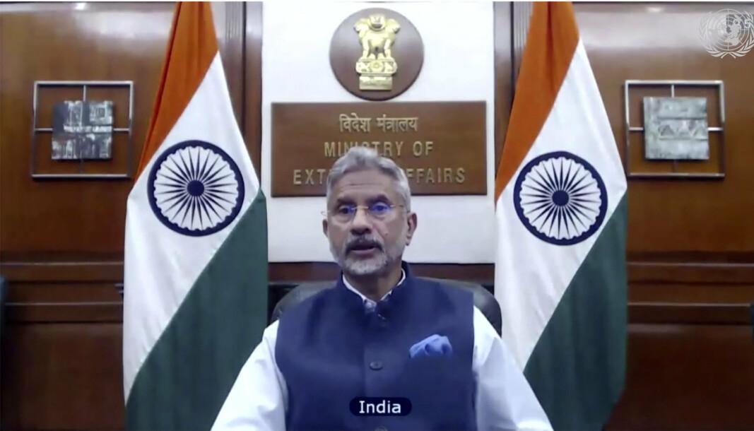 Indias utenriksminister Subrahmanyam Jaishankar i FNs sikkerhetsråd.