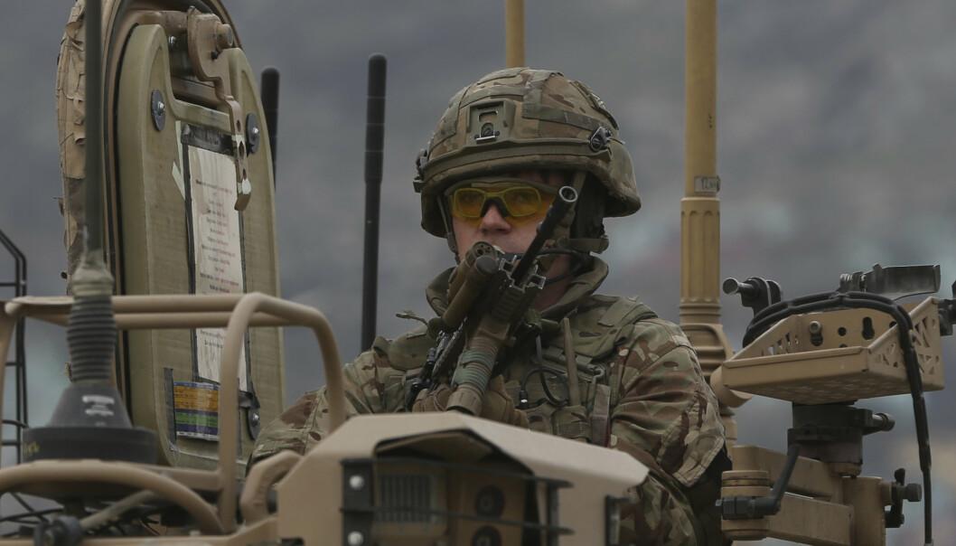 En britisk soldat i den Nato-ledede Resolute Support Mission i Afghanistan.