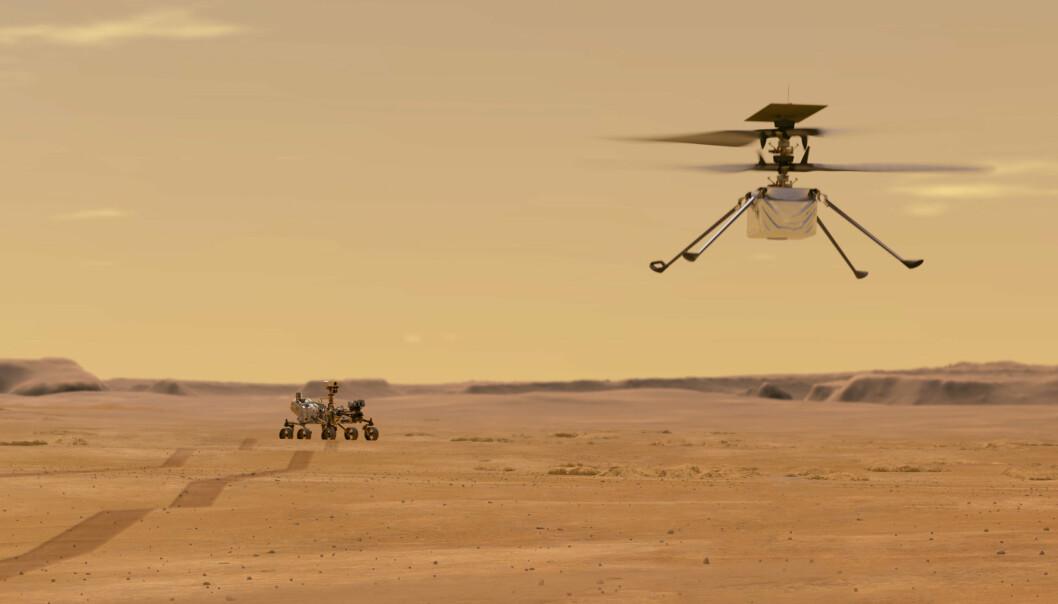 Denne illustrasjonen fra Nasa viser Ingenuity helikopteret på Mars etter at det har tatt av fra Nasas robotkjøretøy Perseverance.