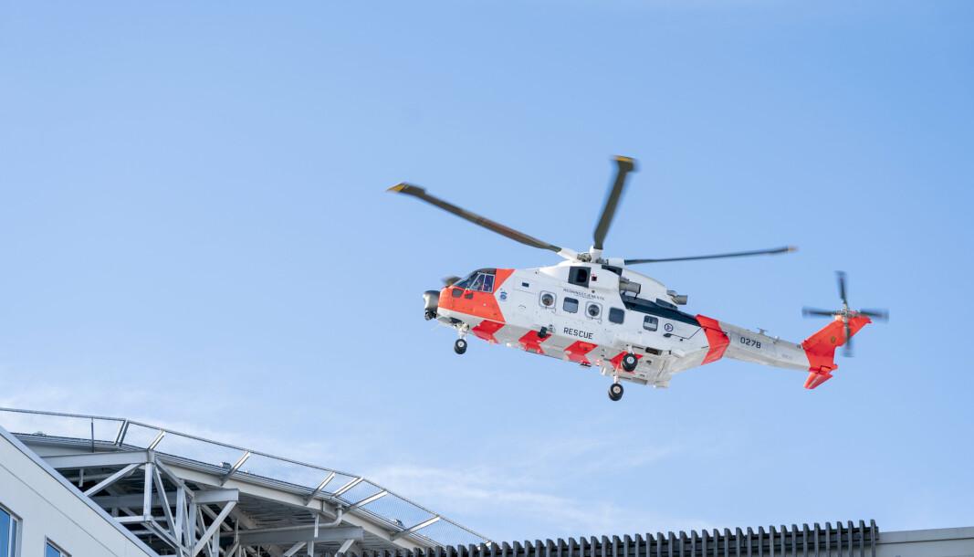 REDNINGSHELIKOPTER: Arbeidet med ny Florø-base, til en verdi av 160 millioner kroner, for Redningshelikoptertjenesten er i gang. Her fra St. Olavs hospital i Trondheim.
