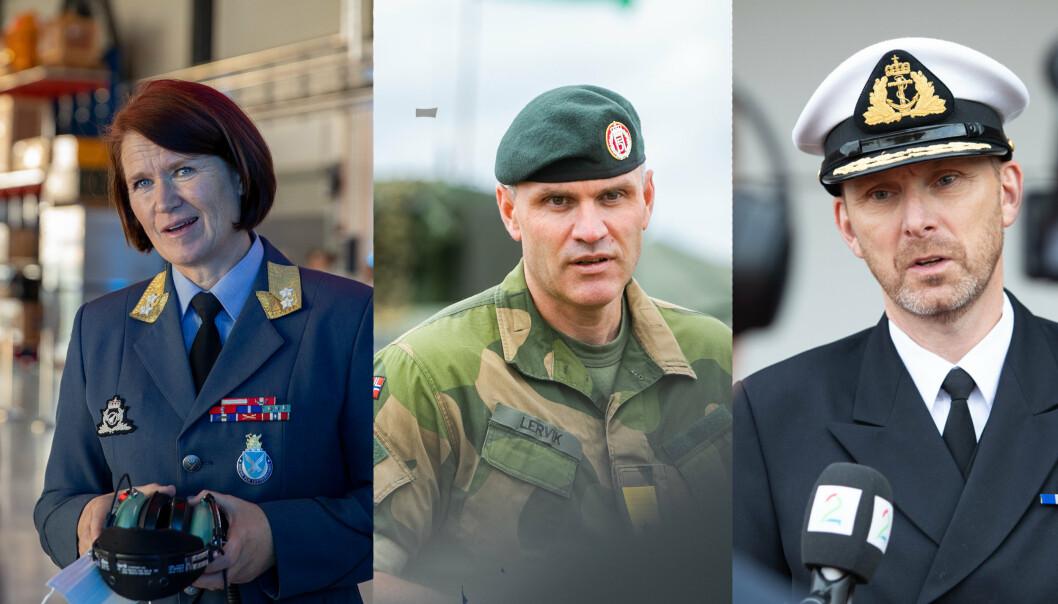 GRENENE: Sjefen for Luftforsvaret: generalmajor Tonje Skinnarland, sjefen for Hæren: generalmajor Lars Lervik og sjefen for Sjøforsvaret: kontreadmiral Rune Andersen
