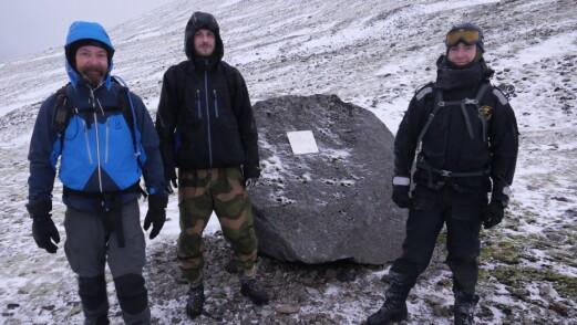 Fra samme topptur. Fra venstre: Bjørn André Stølan, Robin Karlsen og Kristian Tømmervåg.