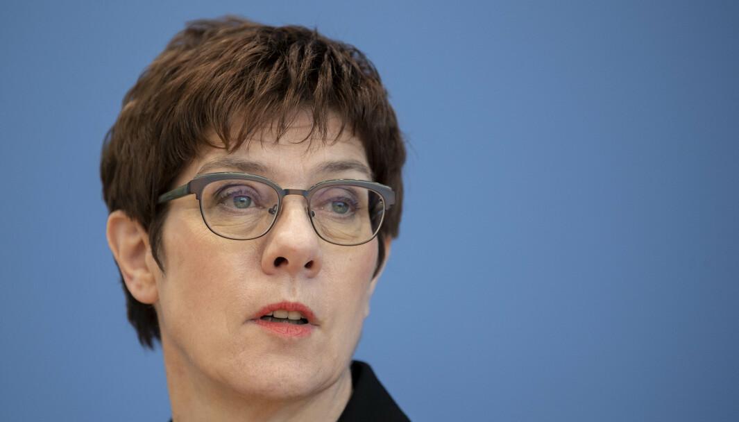 Den tyske forsvarsministeren Annegret Kramp-Karrenbauer under en pressekonferanse i 2020.