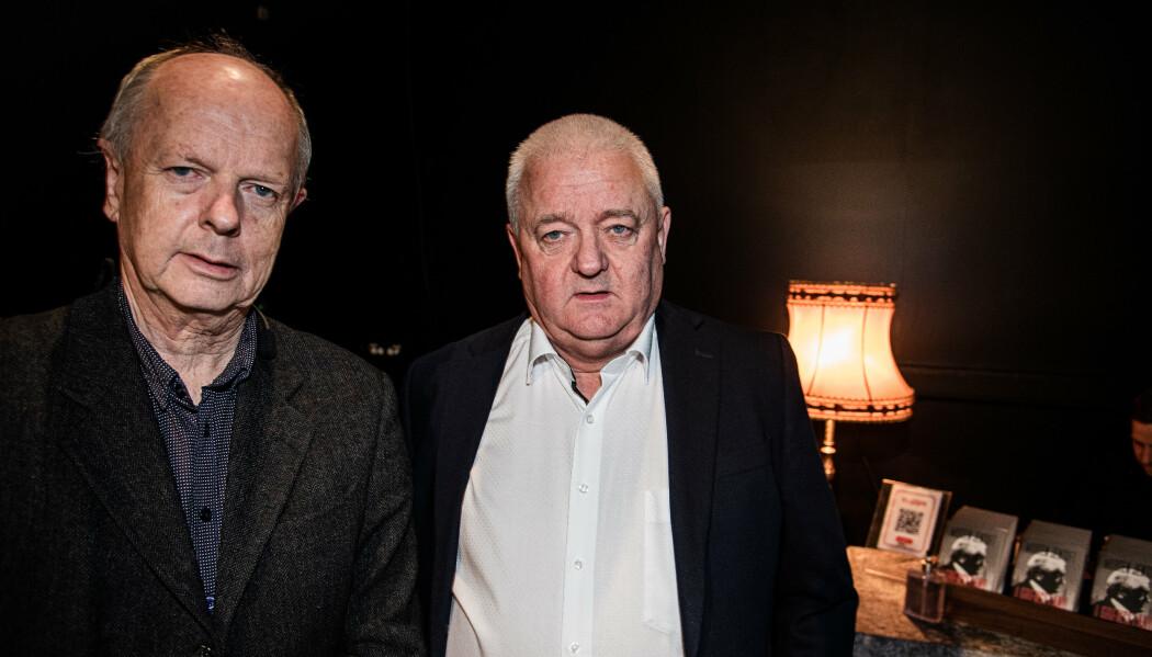 SKUFFET: Frode Berg er svært skuffet over at innholdet i EOS-utvalgets rapport om etterretningsoperasjonen blir holdt hemmelig. Her sammen med NRK-journalist og forfatter Morten Jentoft.