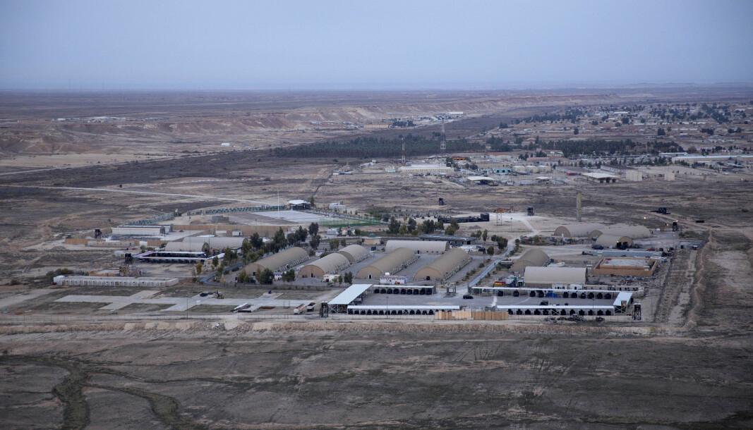 ANBAR: Militærbasen, hvor norske soldater er stasjonert, som ble angrepet av raketter i mars. Søndag ble en annen base i Irak også truffet av raketter.
