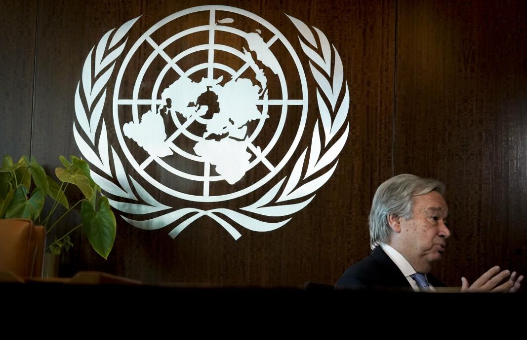 MANNSDOMINERT TOPPJOBB: FNs generalsekretær António Guterres fotografert under et intervju i FN-hovedkvarteret i New York i oktober 2020. Han stiller som kandidat til en ny periode som generalsekretær i verdensorganisasjonen.