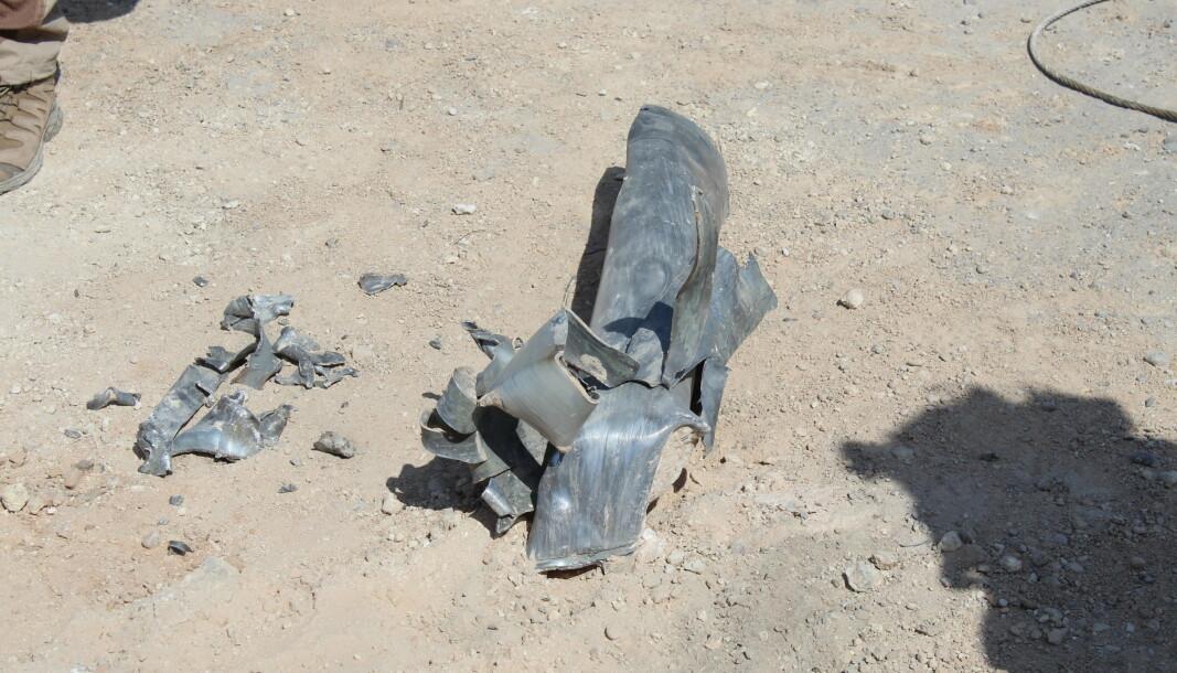 EKSPLODERTE: Restene av en av rakettene som traff al-Asad-leiren i Irak onsdag 3. mars.