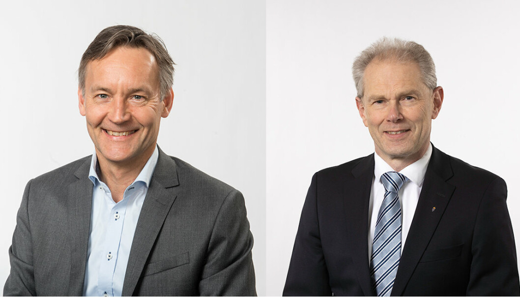 Konstituert administrerende direktør Espen Skjelland (t.v.) og nylig avtroppede John-Mikal Størdal (t.h.)