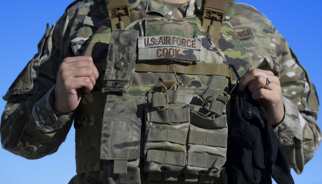 NYTT UTSTYR: De nye skuddsikre vesten til det amerikanske luftvåpenet kan justeres for bedre individuell tilpasning.