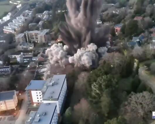 Flere hjem skadet etter sprengning av bombe fra andre verdenskrig