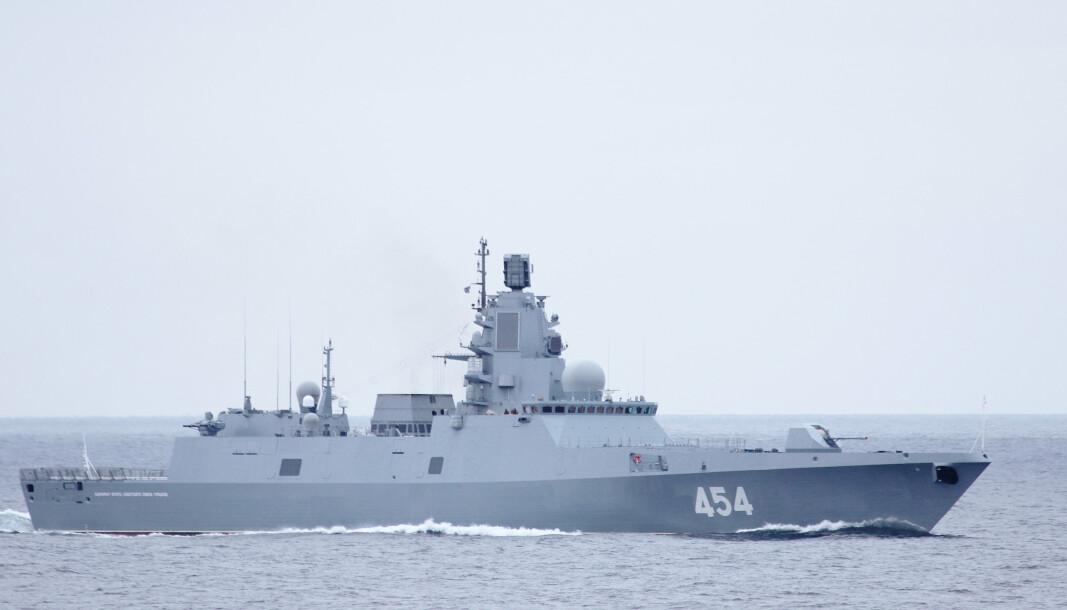 TOLKNING: Det Heier søker å gjere er å sannsynleggjere korleis Russland kan tolke Noreg, Nato og USA si framferd, skriv Tor Ivar Strømmen. Her er den russiske fregatten Admiral Gorshkov.