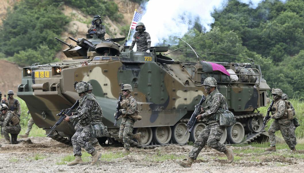 TRENER: Amerikanske og sørkoreanske soldater under trening i Pohang i Sør-Korea i 2016.