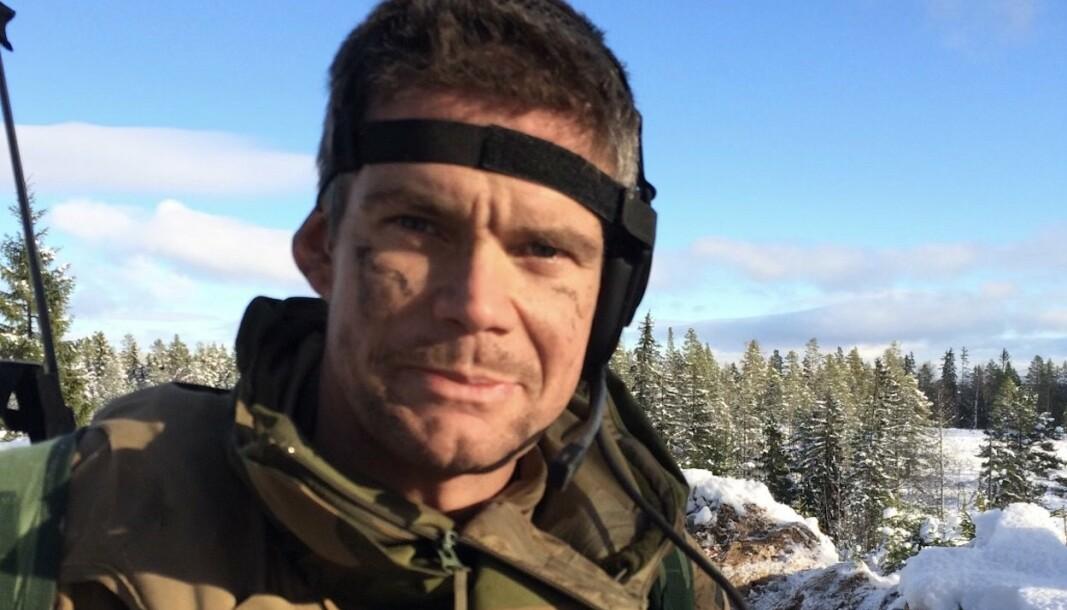Lars Jansen avbildet mens han var kompanisjef i Telemark bataljon.